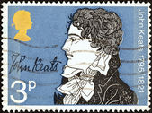 "UNITED KINGDOM - CIRCA 1971: A stamp printed in United Kingdom from the ""Literary Anniversaries"" issue shows John Keats (150th death anniversary), circa 1971. — Stock Photo"