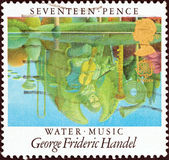 "UNITED KINGDOM - CIRCA 1985: A stamp printed in United Kingdom from the ""Europa. European Music Year. British Composers"" issue shows Water Music (George Frideric Handel), circa 1985. — Stock Photo"