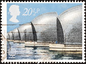 "UNITED KINGDOM - CIRCA 1983: A stamp printed in United Kingdom from the ""Europa. Engineering Achievements"" issue shows Thames Flood Barrier, circa 1983. — Stock Photo"
