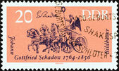 "GERMAN DEMOCRATIC REPUBLIC - CIRCA 1964: A stamp printed in Germany from the ""Cultural Anniversaries"" issue shows Quadriga, Brandenburg Gate (J. G. Schadow, sculptor, b. 1764), circa 1964. — 图库照片"