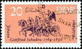 "GERMAN DEMOCRATIC REPUBLIC - CIRCA 1964: A stamp printed in Germany from the ""Cultural Anniversaries"" issue shows Quadriga, Brandenburg Gate (J. G. Schadow, sculptor, b. 1764), circa 1964. — Stock Photo"