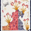 "GREECE - CIRCA 1973: A stamp printed in Greece from the ""Archaeologica l Discoveries, Island of Thera (Santorini) "" issue shows Spring (wall fresco), circa 1973. — Stock Photo #44447397"