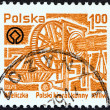 POLAND - CIRCA 1979: A stamp printed in Poland shows Wieliczka Salt Mine. Mining Machinery, circa 1979. — Stock Photo