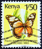 "KENYA - CIRCA 1988: A stamp printed in Kenya from the ""Butterflies "" issue shows African Swallowtail (Papilio dardanus), circa 1988. — Stock Photo"