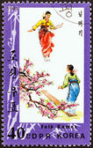 """NORTH KOREA - CIRCA 1983: A stamp printed in North Korea from the """"Folk Games """" issue shows seesaw, circa 1983. — Stock Photo"""