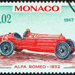 "MONACO - CIRCA 1967: A stamp printed in Monaco from the ""25th Grand Prix, Monaco"" issue shows Alfa Romeo Grand Prix racing car of 1932, winner of Monaco Grand Prix, circa 1967. — Stock Photo"