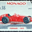 Постер, плакат: MONACO CIRCA 1967: A stamp printed in Monaco from the 25th Grand Prix Monaco issue shows Ferrari Grand Prix racing car of 1955 winner of Monaco Grand Prix circa 1967