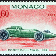 Постер, плакат: MONACO CIRCA 1967: A stamp printed in Monaco from the 25th Grand Prix Monaco issue shows Cooper Climax Grand Prix racing car of 1962 winner of Monaco Grand Prix circa 1967