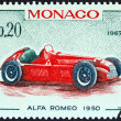 "MONACO - CIRCA 1967: A stamp printed in Monaco from the ""25th Grand Prix, Monaco"" issue shows Alfa Romeo Grand Prix racing car of 1950, winner of Monaco Grand Prix, circa 1967. — Stock Photo"