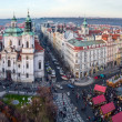 View of Old Town square and St. Nicholas Church, Prague, Czech Republic — Stock Photo