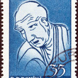 "ROMANIA - CIRCA 1960: A stamp printed in Romania from the ""Cultural Anniversaries"" issue shows Katsushika Hokusai (painter, birth bicentenary), circa 1960. — Stock Photo"