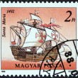 "HUNGARY - CIRCA 1988: A stamp printed in Hungary from the ""Sailing Ships "" issue shows Santa Maria, 1492, circa 1988. — Stock Photo"