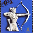 """USSR - CIRCA 1977: A stamp printed in USSR from the """"Olympic Games, Moscow. Sports (1st series) """" issue shows archery, circa 1977. — Stock Photo"""