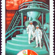 """USSR - CIRCA 1979: A stamp printed in USSR from the """"Soviet - Bulgarian Space Flight """" issue shows Cosmonauts at Yuri Gagarin Training Centre, circa 1979. — Stock Photo"""