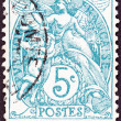 "FRANCE - CIRCA 1900: A stamp printed in France from the ""Blanc "" issue shows Liberty, Equality, Fraternity, circa 1900. — Stock Photo"