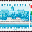"""HUNGARY - CIRCA 1967: A stamp printed in Hungary from the """"25th Session of Danube Commission"""" issue shows Diesel passenger boat Hunyadi, Buda Castle, Hungary, circa 1967. — Stock Photo #45801049"""
