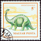 "HUNGARY - CIRCA 1990: A stamp printed in Hungary from the ""Prehistoric Animals "" issue shows Brontosaurus, circa 1990 — Stock Photo"