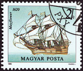 "HUNGARY - CIRCA 1988: A stamp printed in Hungary from the ""Sailing Ships "" issue shows Mayflower, 1620, circa 1988. — Stock Photo"