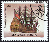 """HUNGARY - CIRCA 1988: A stamp printed in Hungary from the """"Sailing Ships """" issue shows Sovereign of the Seas, 1637, circa 1988. — Stock Photo"""
