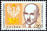 "POLAND - CIRCA 1988: A stamp printed in Poland from the ""World Post Day "" issue shows Postal Emblem and Tomasz Arciszewski (Postal Minister, 1918-19), circa 1988. — Stock Photo"