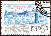 "USSR - CIRCA 1987: A stamp printed in USSR from the ""New Year "" issue shows Moscow Kremlin, circa 1987. — Stock Photo"