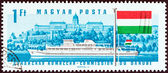 "HUNGARY - CIRCA 1967: A stamp printed in Hungary from the ""25th Session of Danube Commission"" issue shows Diesel passenger boat Hunyadi, Buda Castle, Hungary, circa 1967. — Stock Photo"