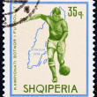 "ALBANIA - CIRCA 1966: A stamp printed in Albania from the ""Football World Cup - England "" issue shows soccer player and map of Sweden (1958), circa 1966. — Stock Photo #46065143"