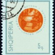 "ALBANIA - CIRCA 1966: A stamp printed in Albania from the ""Football World Cup - England "" issue shows Globe in form of Soccer ball, circa 1966. — Stock Photo #46065149"