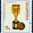 Постер, плакат: ALBANIA CIRCA 1966: A stamp printed in Albania from the Football World Cup England issue shows Jules Rimet Cup and Football circa 1966