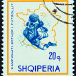 """ALBANIA - CIRCA 1966: A stamp printed in Albania from the """"Football World Cup - England """" issue shows soccer player and map of France (1938), circa 1966. — Stock Photo"""
