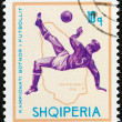 """ALBANIA - CIRCA 1966: A stamp printed in Albania from the """"Football World Cup - England """" issue shows soccer player and map of Uruguay (1930), circa 1966. — Stock Photo"""