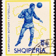 """ALBANIA - CIRCA 1966: A stamp printed in Albania from the """"Football World Cup - England """" issue shows soccer player and map of Italy (1934), circa 1966. — Stock Photo"""