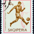 """ALBANIA - CIRCA 1966: A stamp printed in Albania from the """"Football World Cup - England """" issue shows soccer player and map of Chile (1962), circa 1966. — Stock Photo"""