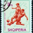 """ALBANIA - CIRCA 1966: A stamp printed in Albania from the """"Football World Cup - England """" issue shows soccer player and map of England (1966), circa 1966. — Stock Photo"""