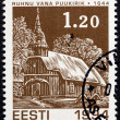 "ESTONIA - CIRCA 1994: A stamp printed in Estonia from the ""Christmas "" issue shows Old Ruhnu wooden church (1644), circa 1994. — Stock Photo #46065235"