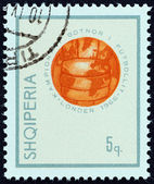"""ALBANIA - CIRCA 1966: A stamp printed in Albania from the """"Football World Cup - England """" issue shows Globe in form of Soccer ball, circa 1966. — Photo"""