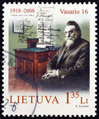 "LITHUANIA - CIRCA 2008: A stamp printed in Lithuania from the ""90th Anniversary of the Restored State of Lithuania "" issue shows Jonas Basanavicius, circa 2008. — Stock Photo"