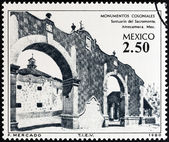 """MEXICO - CIRCA 1980: A stamp printed in Mexico from the """"Colonial Architecture """" issue shows Sacromonte Sanctuary, Amecameca, circa 1980. — Stock Photo"""