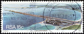 "SOUTH AFRICA - CIRCA 1978: A stamp printed in South Africa from the ""Harbours "" issue shows Saldanha port, circa 1978. — Stock Photo"