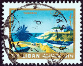 """LEBANON - CIRCA 1966: A stamp printed in Lebanon from the """"Tourism """" issue shows Tabarja, circa 1966. — Foto de Stock"""