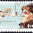 PORTUGAL - CIRCA 1969: A stamp printed in Portugal issued for the birth centenary of aviator Gago Coutinho shows Coutinho and Fairey IIIB Seaplane, circa 1969. — Stock Photo