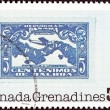 Постер, плакат: GRENADINES OF GRENADA CIRCA 1978: A stamp printed in Grenada from the 50th anniversary of Lindbergh solo trans Atlantic crossing issue shows Panamanian stamp 1928 circa 1978