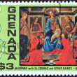 Постер, плакат: GRENADA CIRCA 1976: A stamp printed in Grenada from the Christmas issue shows Madonna with St Cosmas and other Saints Botticelli circa 1976