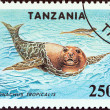 "TANZANIA - CIRCA 1994: A stamp printed in Tanzania from the ""Endangered Species"" issue shows Carribean monk seals (Monachus tropicalis), circa 1994. — Stock Photo #47766997"