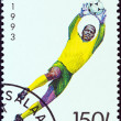 TANZANIA - CIRCA 1993: A stamp printed in Tanzania shows a football goalkeeper, circa 1993. — Stock Photo #47767011