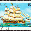 "CUBA - CIRCA 1989: A stamp printed in Cuba from the ""Cuban Sailing Ships "" issue shows San Genaro (ship of the line), circa 1989. — Stock Photo"