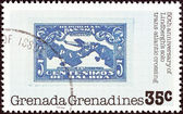 """GRENADINES OF GRENADA - CIRCA 1978: A stamp printed in Grenada from the """"50th anniversary of Lindbergh solo trans-Atlantic crossing"""" issue shows Panamanian stamp, 1928, circa 1978. — Stock Photo"""