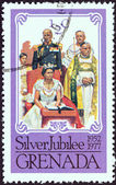GRENADA - CIRCA 1977: A stamp printed in Grenada issued for the Coronation of Queen Elizabeth II, 25th anniversary shows Coronation, circa 1977. — Stock Photo