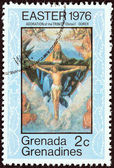 "GRENADINES OF GRENADA - CIRCA 1976: A stamp printed in Grenada from the ""Easter "" issue shows The Adoration of the Trinity (Durer), circa 1976. — Stock Photo"