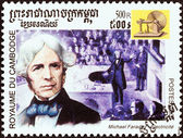 "CAMBODIA - CIRCA 2001: A stamp printed in Cambodia from the ""Millennium "" issue shows Michael Faraday, electric motor, circa 2001. — Stock Photo"